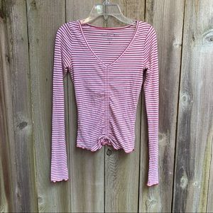 Hollister ruched red and whit striped Top Size XS